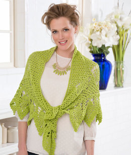 Romantic Pineapple Shawl in Red Heart Luster Sheen Solids - LW3338 - Downloadable PDF