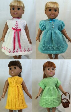 Days of the Week Dresses, Book 1 - Knitting Patterns fit American Girl and other 18-Inch Dolls