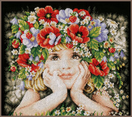 Lanarte Counted Cross Stitch Kit Girl With Flowers
