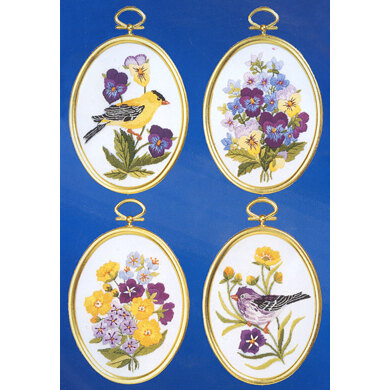 Janlynn Wildflowers and Finches, Set of 4 Embroidery Kit - 8 x 11cm