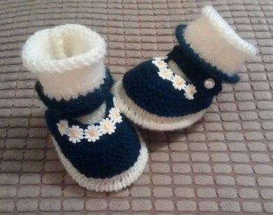 Navy Cream Mary Janes with Matching Socks 0-3mths