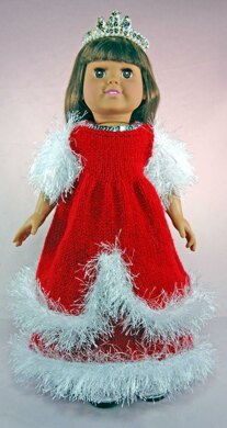Winter Princess Dress, Knitting Patterns fit American Girl and other 18-Inch Dolls