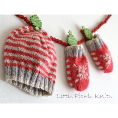 Baby's 1st Christmas! 'Little Stripe Hat' and 'Little Snowflake Mittens'