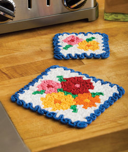 May Flowers Hot Pad & Coaster Set in Aunt Lydia's Classic Crochet Thread Size 10 Shaded and 10 Natural - LC2188