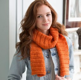 Beginner Garter Drop-Stitch Scarf in Red Heart With Love Solids - LW4129