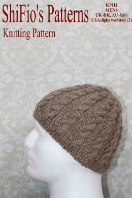 daf3a3f6e Knitting Pattern Mens beanie hat UK & USA Terms #397 Knitting ...
