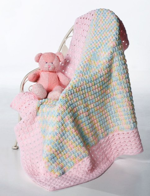 Knitting Patterns For Bernat Baby Sport Yarn : Clusters And Crosses Blanket in Bernat Baby Sport Knitting Patterns LoveK...
