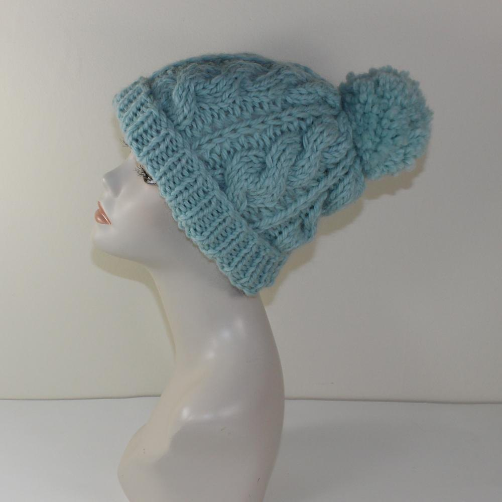 Super Chunky Cable Bobble Beanie Hat Knitting pattern by ... cda36263390