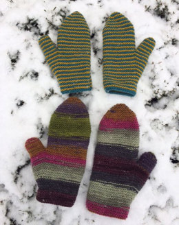 Garter Mittens in Classic Elite Yarns Liberty Wool Solids and Prints
