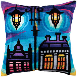 Collection D'Art Twilight Street I Cross Stitch Cushion Kit - 40cm x 40cm