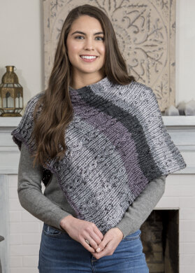Cable Rib Poncho in Premier Yarns Serenity Chunky Big Ombre