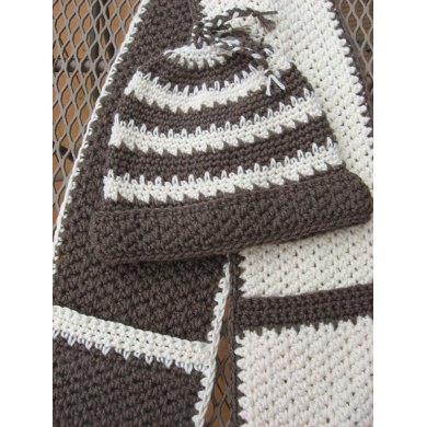 Hot Chocolate And Vanilla Swirl Hat And Scarf Set Crochet Pattern By