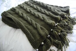 Cabled Blanket with Beads