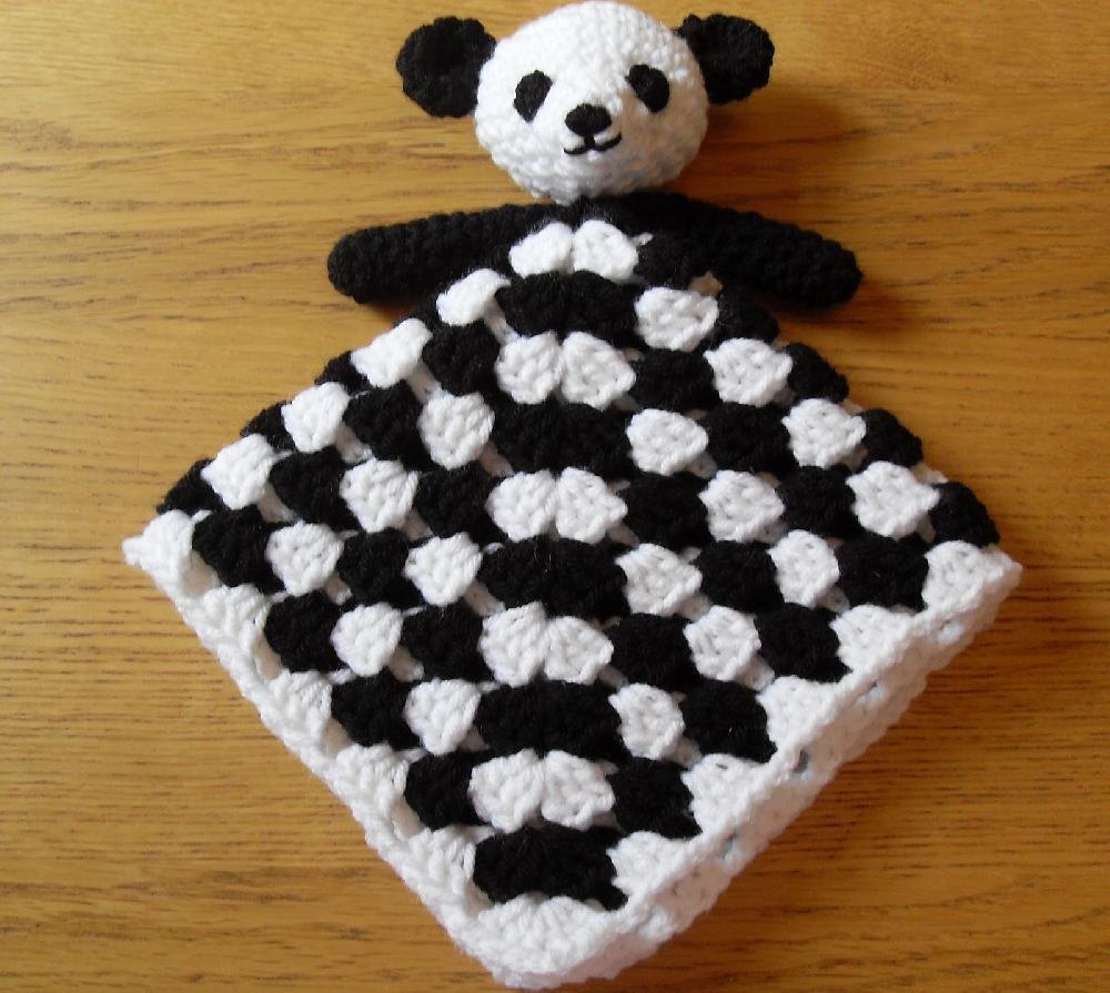 Panda Bear Baby Security Blanket Lovey Comforter Crochet