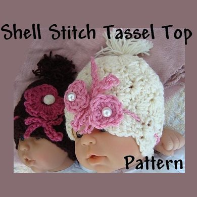 Shell Stitch Tassel Top Crochet Baby Hat Pattern
