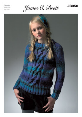Girl's Cardigan in James C. Brett Marble Chunky - JB050