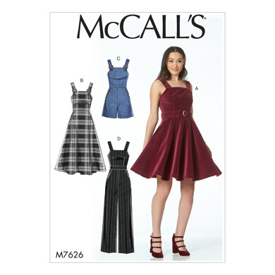 McCall's Misses' Dresses, Belt, Romper, and Jumpsuit with Pockets M7626 - Sewing Pattern