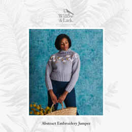 Abstract Embroidery Jumper - Sweater Knitting Pattern For Women in Willow & Lark Ramble by Willow & Lark