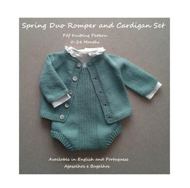Set: Spring Duo Baby Romper and Cardigan