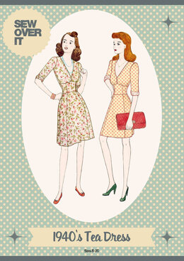 Sew Over It 1940's Tea Dress Sewing Pattern - Downloadable PDF, Size UK 8-20