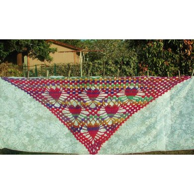 Titillating Tessallating Hearts Shawl