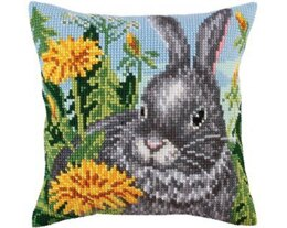 Collection D'Art Rabbit & Dandelions Cross Stitch Cushion Kit - 40cm x 40cm