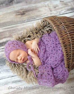 Mohair Bonnet & Wrap for Newborn