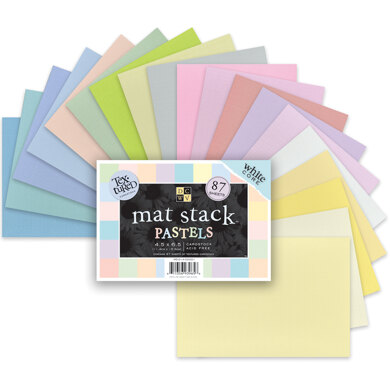 """American Crafts DCWV Single-Sided Mat Stack 4.5""""X6.5"""" 87/Pkg - Pastels, White Core, 29 Colors/3 Each"""