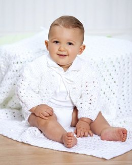 Shell Stitch Christening Set in Red Heart Soft Solids - WR1974