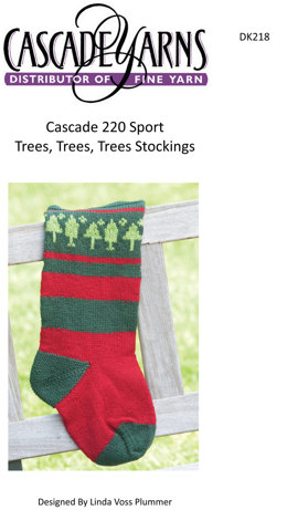 Trees, Trees, Trees Stocking in Cascade 220 Sport - DK218