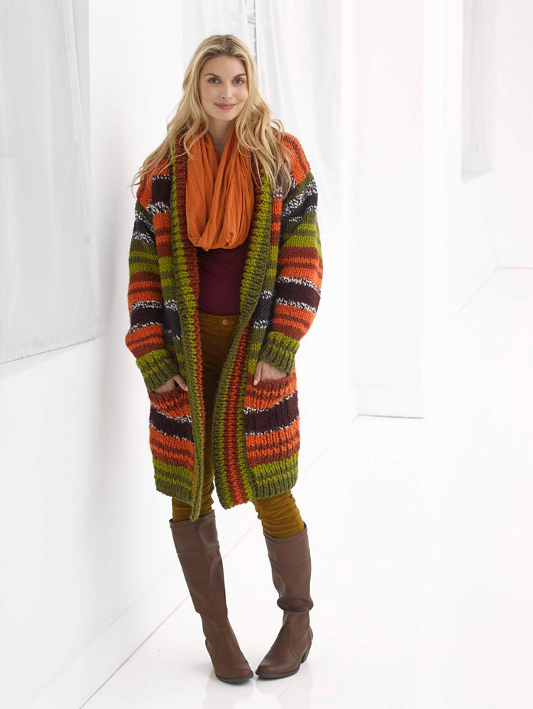Striped Boyfriend Cardigan In Lion Brand Wool Ease Thick