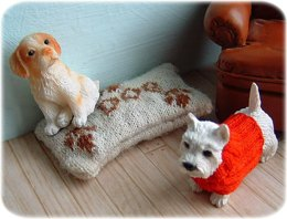 1:12th scale dog jumper and cushion