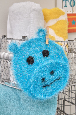Happy Hippo Face Scrubby in Red Heart Scrubby Sparkle - LW5537