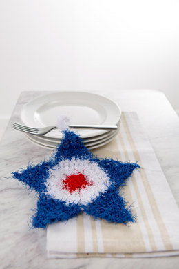 Patriotic Crochet Scrubby in Red Heart Scrubby Solids - LW5260