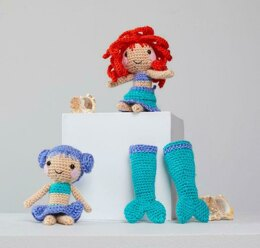 Dia & Mia Mermaid in Red Heart Amigurumi - LM6286 - Downloadable PDF