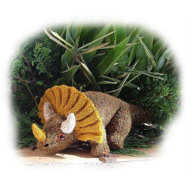 Knitting Pattern Dinosaur Toy : Triceratops toy dinosaur knitting pattern by Georgina Manvell Knitting patter...