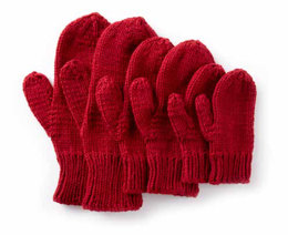 Basic Family Knit Mittens in Caron One Pound - Downloadable PDF