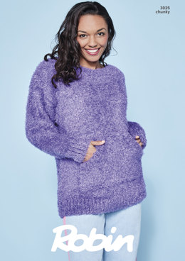 Oversized Sweater and Cowl in Robin Mardi Gras - 3025 - Downloadable PDF