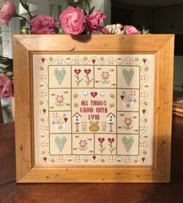 Historical Sampler Company All Thing Grow with Love - Linen - 25cm x 25cm