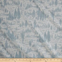 Moda Fabrics Forest Frost Glitter II Winter Metallic Snowy Village Light Blue