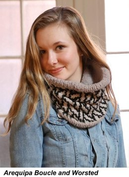 Slipt Stitch Cowl in Plymouth Yarn Arequipa Worsted & Boucle - 104 - Downloadable PDF
