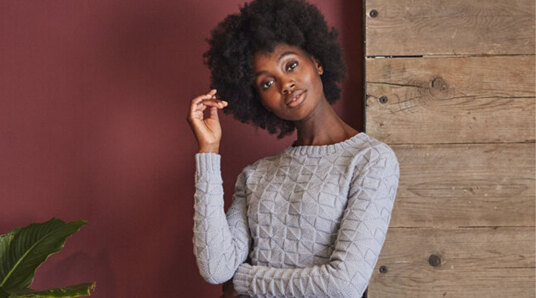 woman in knitted jumper