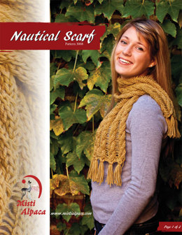 Nautical Scarf in Misti Alpaca Best of Nature Worsted - 3008 - Downloadable PDF