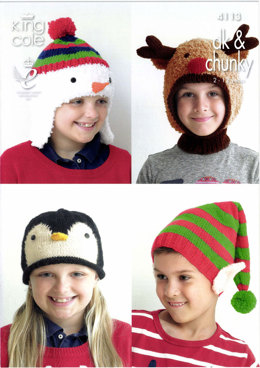Kid's Novelty Hats in King Cole Cuddles Chunky and Big Value Chunky - 4113