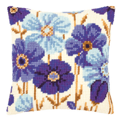 Vervaco Blue Flowers Cushion Front Chunky Cross Stitch Kit