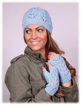 Chevron Hat And Mitt Sets in Plymouth Yarn Cashmere De Cotone - 3010 - Downloadable PDF