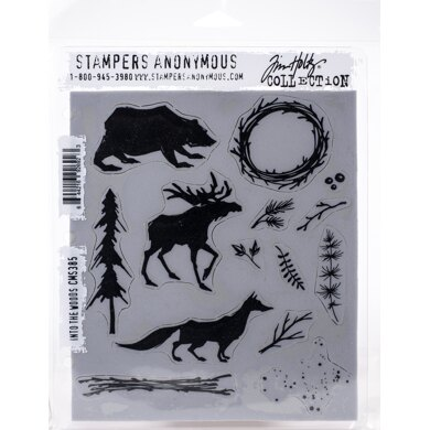 "Stampers Anonymous Tim Holtz Cling Stamps 7""X8.5"" - Into The Woods"