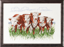 Permin Hereford Cows Cross Stitch Kit - 41x29cm