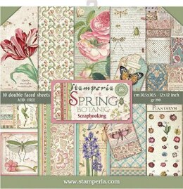"""Stamperia Intl Stamperia Double-Sided Paper Pad 12""""X12"""" 10/Pkg - Spring Botanic, 10 Designs/1 Each"""