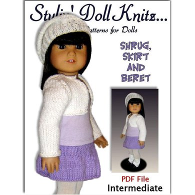 Knitting Pattern, fits American Girl and all 18 inch dolls, shrug and skirt. 034